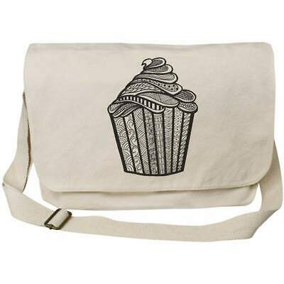 'Patterned Cupcake' Cotton Canvas Messenger Bags (MS023145) • 14.99£