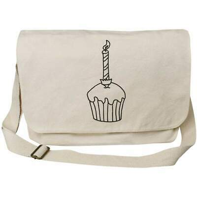 'Candle In Cupcake' Cotton Canvas Messenger Bags (MS024975) • 14.99£