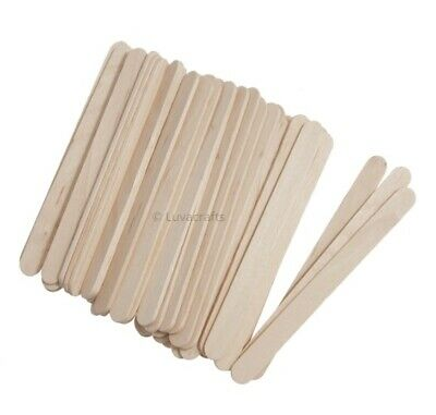Natural Wooden Craft Sticks Ice Lollipop Lolly Sticks 112mm - Pack 10 To 100 Pc • 1.49£