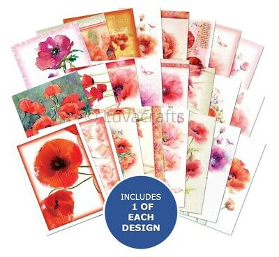 Hunkydory The Little Book Of Poppies Sample Pack 24 Sheets X A6 150gsm • 2.99£