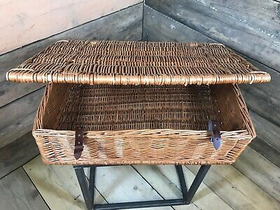 Wicker Storage Basket With Lid Storage Collection Christmas Gift Hamper Picnic • 32.50£