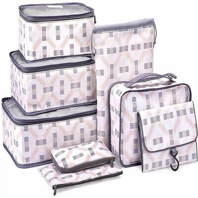 AU23 • Buy 8 Pc Packing Cubes Travel Pouches Luggage Organiser Clothes Suitcase Storage Bag