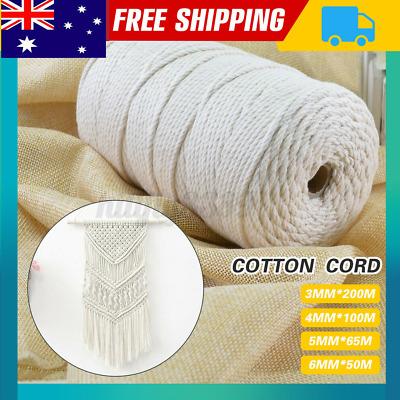 AU12.73 • Buy 3/4/5/6mm 200M Macrame Rope Natural Beige Cotton Twisted Cord Hand Craft NEW X