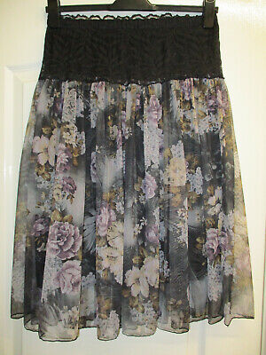 Fits A Uk Size 8-10 Womens Skirt Black Net Skirt With Lacy Elasticated Waist • 2.99£