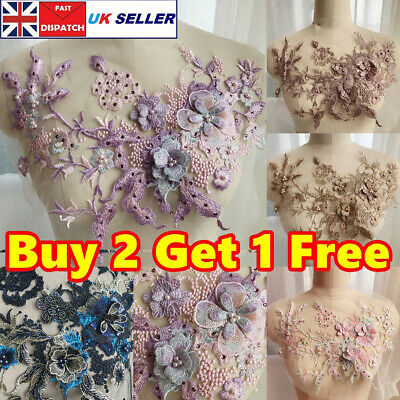 3D Embroidery Flower Lace Bride Applique Pearl Beaded Tulle Wedding Dress Crafts • 6.59£