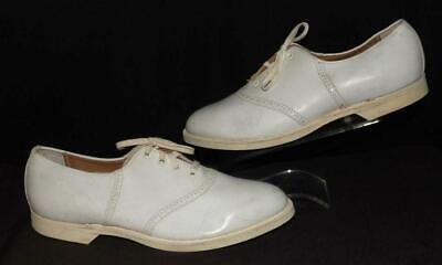 AU56.30 • Buy ORIG VTG 40s 50s WHITE LEATHER STRIDE RITE OXFORD TIE SOCK HOP SHOES NEW OLD 7 M