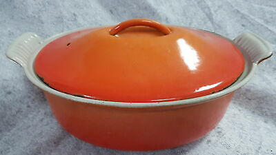 Le Creuset 26 Vintage Volcanic Orange Cast Iron Casserole Pot With Lid Grade B • 35.99£