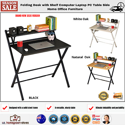 AU127.86 • Buy Folding Desk With Shelf Computer Laptop PC Table Side Home Office Furniture