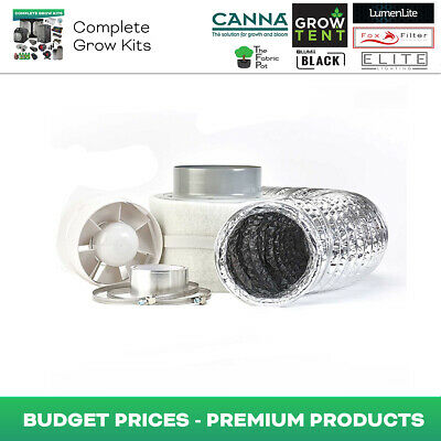 Hydroponics 6  Budget Fan & Filter Kit Indoor Growing Room Odour Control • 49.95£