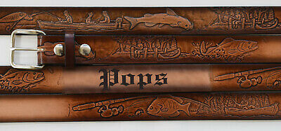 $45 • Buy Name Belt - Fishing Brown Leather Custom Engraved For Men And Women Made In USA