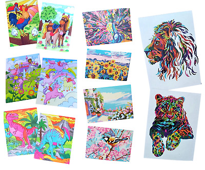 Paint By Numbers Kids Art Children's Home School Painting Brush Craft Activity • 3.69£