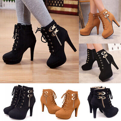 UK Womens High Heel Ankle Boots Ladies Lace Up Zip Up Party Booties Shoes Size • 25.11£