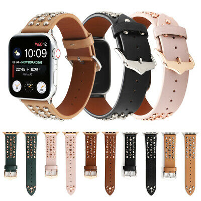 AU15.49 • Buy Genuine Leather Rivet Band Strap For Apple Watch SE Series 6 5 4 3 2 IWatch 44mm
