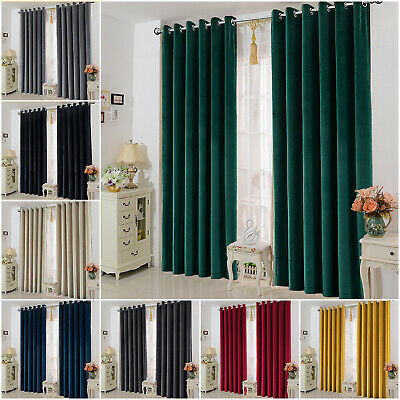 Eyelet Ring Top Fully Lined Semi Blackout Curtains Bedroom Window Curtains Pair • 21.98£