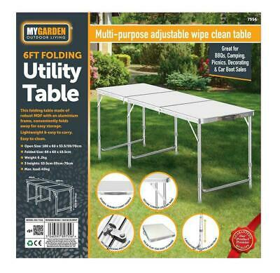 Portable  6ft Adjustable Aluminium Folding Table Garden Camping Catering Party   • 34.99£
