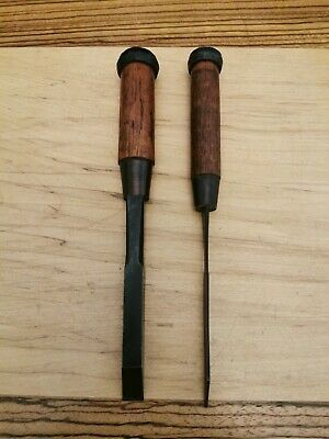 Beautiful New Pair Of Japanese Mortice Chisels Mukomachi Nomi VERY OLD STOCK !  • 380£