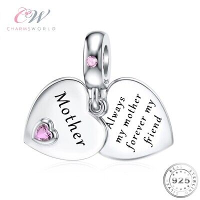 Mother Heart Charm Genuine 925 Sterling Silver 💞 Birthday / Mothers Day For Mum • 15.99£