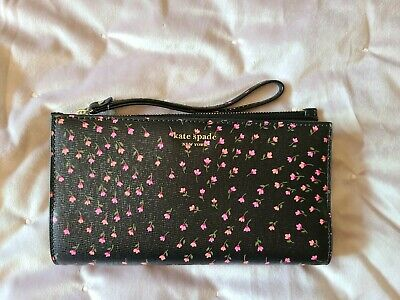$ CDN72.50 • Buy NWT Kate Spade Sylvia Meadow Black Multi-Color Continental Wristlet $148