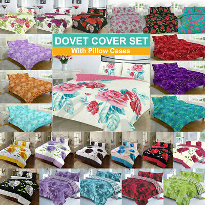 £12.99 • Buy Duvet Cover With Pillowcases Quilt Cover Set Single, Double, King, Super King
