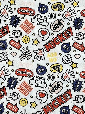 Disney's Hey Mickey Mouse White CEA Fabric 100% Cotton 18x21 FQ Quilt • 6£