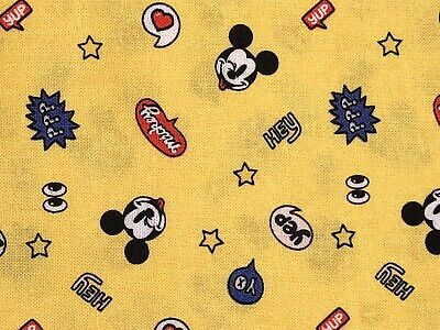 Disney's Yo Mickey Mouse Yellow CEA Fabric 100% Cotton 18x21 FQ Quilt • 6£