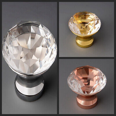 Crystal Glass Door Knobs Diamond Drawer Cabinet Furniture Handle Knob Decor • 4.95£