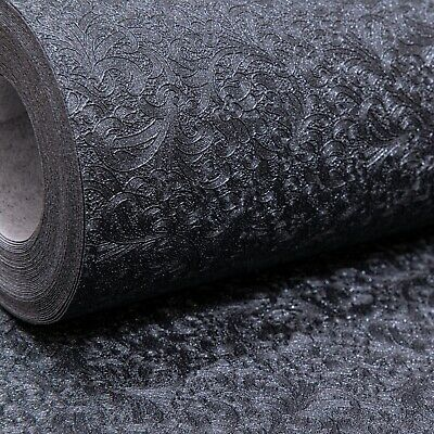 Plain Subtle Damask Pattern Black Glitter Shimmer Shine Textured Wallpaper Heavy • 7.95£