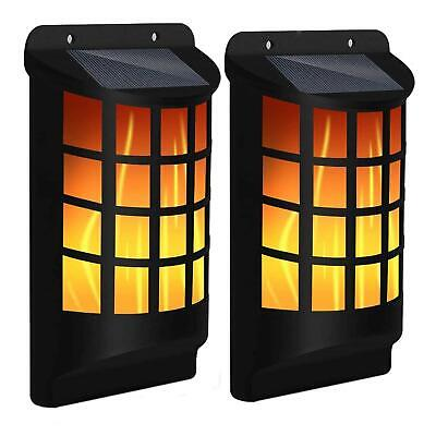 Solar Flickering Flame 60 LED Waterproof Wall Torch Light Garden Lamp Outdoor • 9.99£