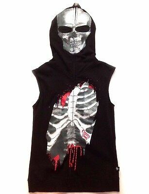 $ CDN149.99 • Buy Goth Cyber Punk Visual Kei Skull Skeleton Hoodie Mask Hot Topic Top Jacket Vest