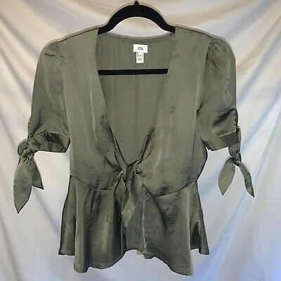 River Island Green Tie Front Top Size 6 Worn Once • 6£