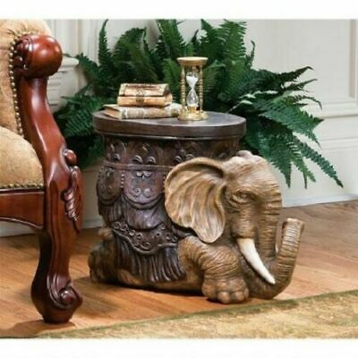 African Elephant Table Safari Footstool Display Stand Hand Painted  • 140.55£