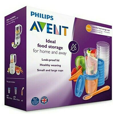 AU16.85 • Buy Philips Avent Baby Food Storage Cups 180/240 ML 20 Pack-10 Each + Spoon RRP £30