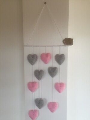 Hanging Gray & Pink Wool Wrap Love Hearts Home Wall Art, Handmade Unique Gift • 12.99£