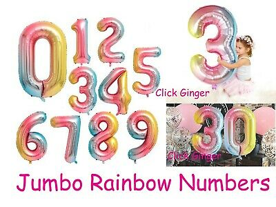 AU3.80 • Buy Rainbow Foil Number Balloons Jumbo Size Gradiant Colours Helium Pink Blue