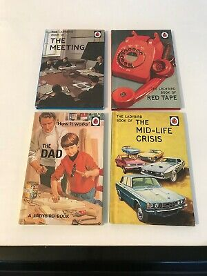 4x Bundle Ladybird Books For Adults- THE DAD, MID-LIFE CRISIS, THE MEETING,RED T • 9.89£