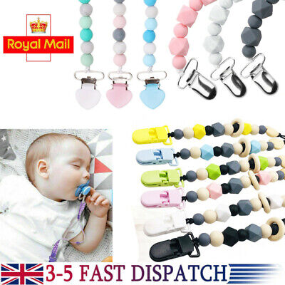 Pacifier Clips Dummy Holders Pacifier Teething Baby Teether Clip Chain Bead Gift • 4.49£