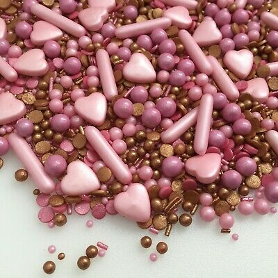 Edible Pink Bronze Rose Cupcake Sprinkles Mix Cake Toppers Decorations Birthday • 3.25£