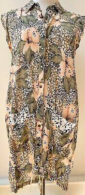 AU45 • Buy Zulu & Zephyr Dress, Animal Print Pink Floral Tropical Crinkle Fabric, Size 6