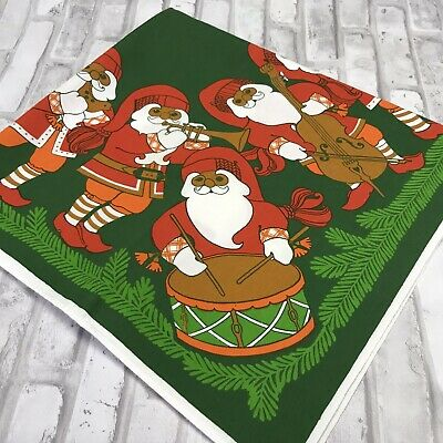 $ CDN33.32 • Buy Vintage Swedish Christmas Tablecloth Santa Tomte Nisse Musical Instruments Band