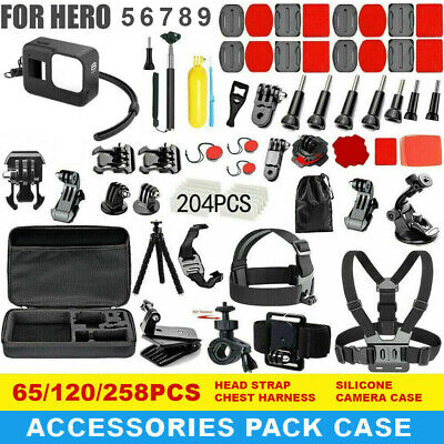 AU54.99 • Buy GoPro Hero 9 8 7 6 5 Accessories Pack Case Chest Head Bike Monopod Float Mount
