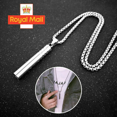 Whistle Pendant Necklace Silver Stainless Steel Unisex's Chain Girls Jewellery • 2.99£
