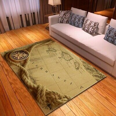 Nordic 3D Nautical Map Carpets Play Mat Soft Flannel Bedroom Rugs Large Area Rug • 80.15£