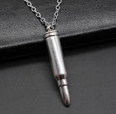 £7.95 • Buy Silver Bullet Pendant Necklace Chain Army Military Soldier V3 UK Seller