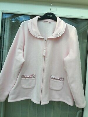 Ladies Short Dressing Gown/Bed Jacket M&S Size 16-18 Pink Zip Front 2 Front Pkts • 16£