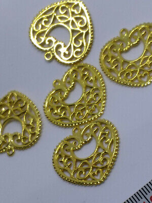 £2 • Buy Gold Plated Brass Filigree Heart Charms Approx 27mm (5pcs)