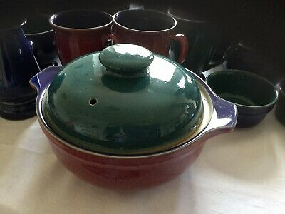 Denby Harlequin Casserole Dish With Lid Blue/Red/Green • 12£