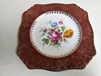 $ CDN16 • Buy Vintage ROYAL WINTON GRIMWADES ENGLAND Square Ceramic Plate With Center Flowers