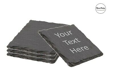 Personalised Laser Engraved Slate Coaster Custom Message Text Mens Gift • 5.99£