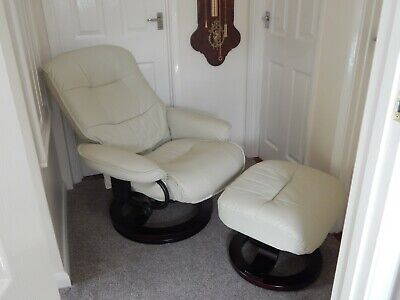 Santos Ivory Recliner Chair With Foot Stool • 170£