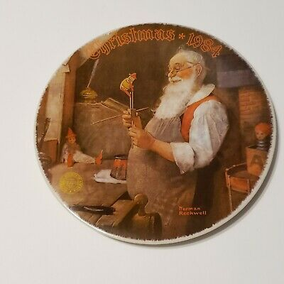 $ CDN19.99 • Buy Norman Rockwell  Santa In His Workshop  By Edwin Knowles Decorative Plate 1984